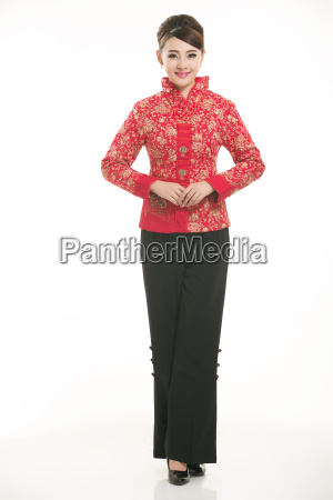 wearing, chinese, clothing, waiter, in, front - 14081447