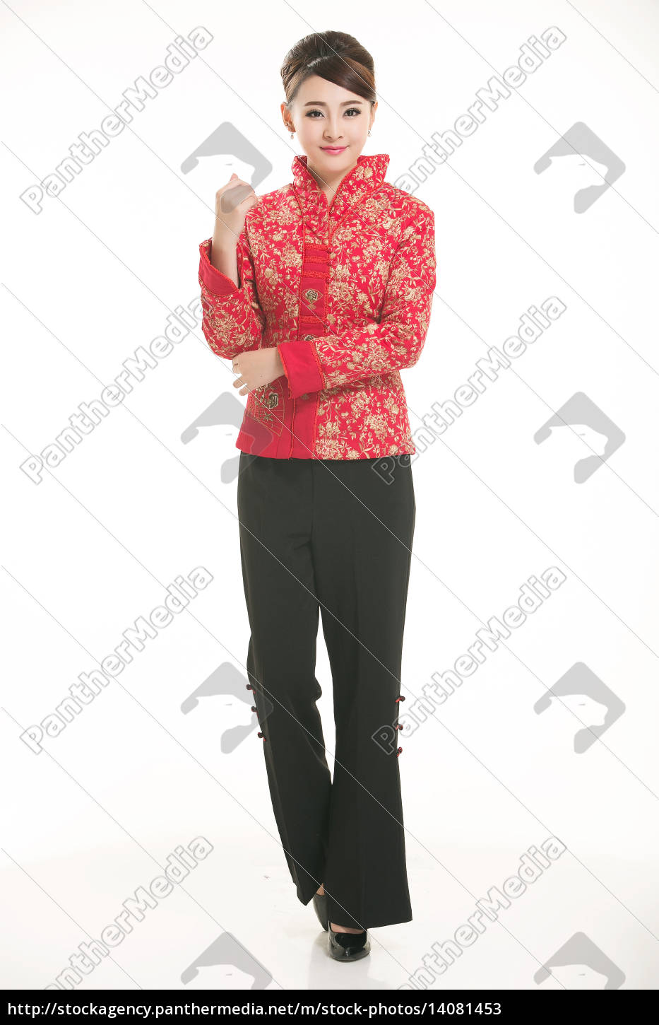 wearing, chinese, clothing, waiter, in, front - 14081453