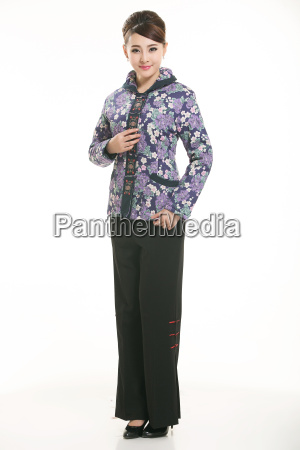wearing, chinese, clothing, waiter, in, front - 14081625