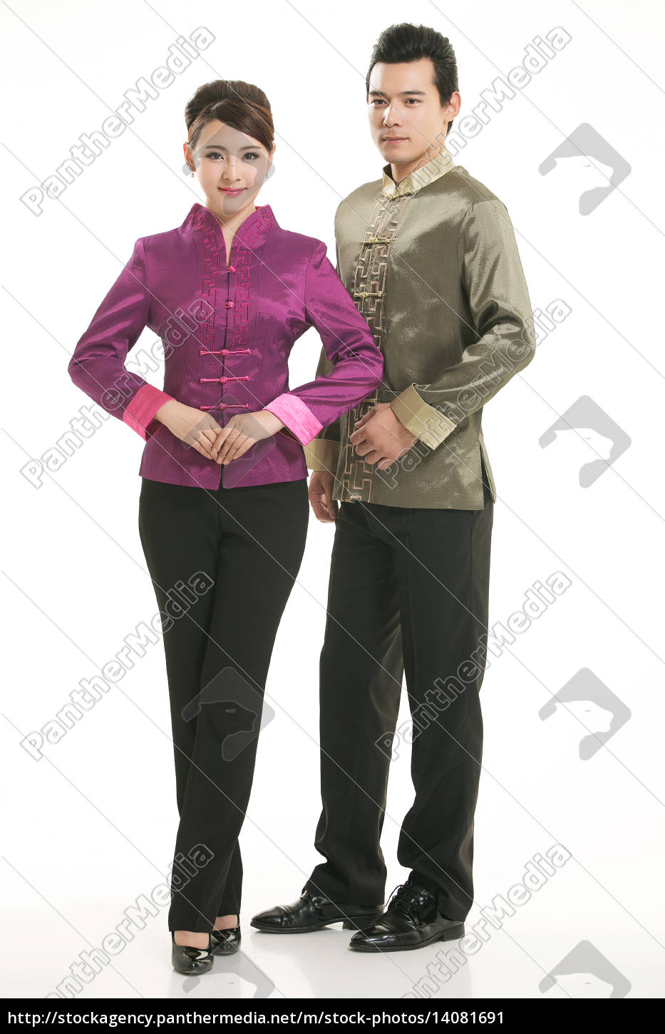 wearing, chinese, clothing, waiter, in, front - 14081691