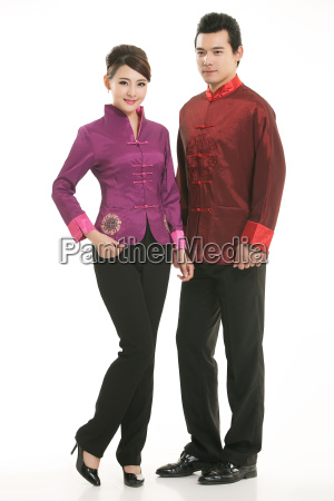 wearing, chinese, clothing, waiter, in, front - 14081765