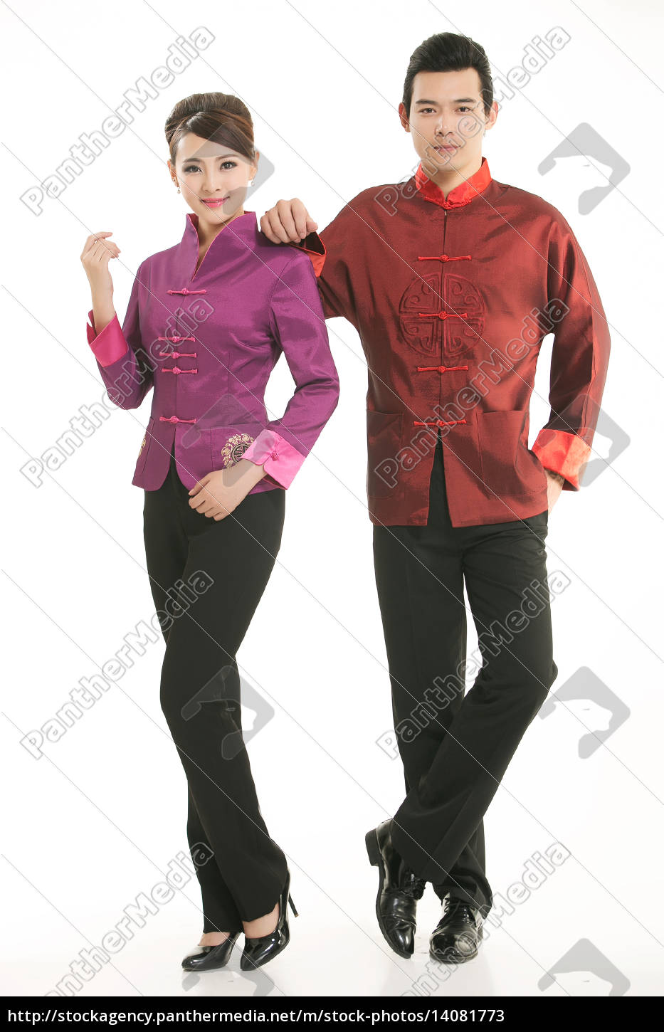 wearing, chinese, clothing, waiter, in, front - 14081773