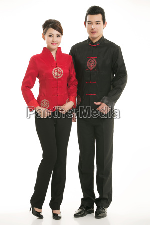 wearing, chinese, clothing, waiter, in, front - 14081785