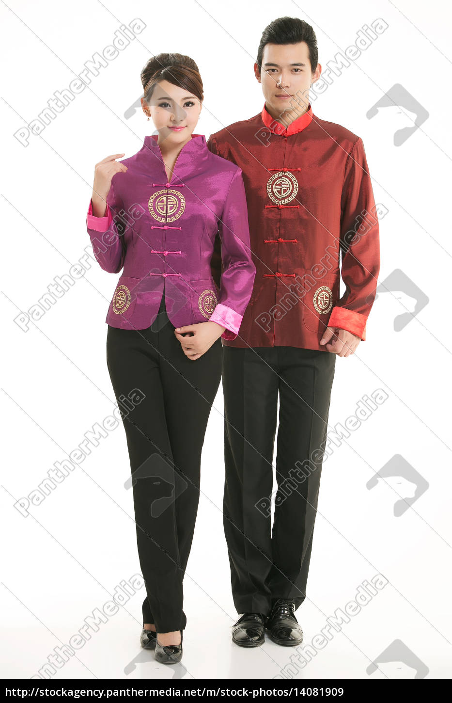 wearing, chinese, clothing, waiter, in, front - 14081909