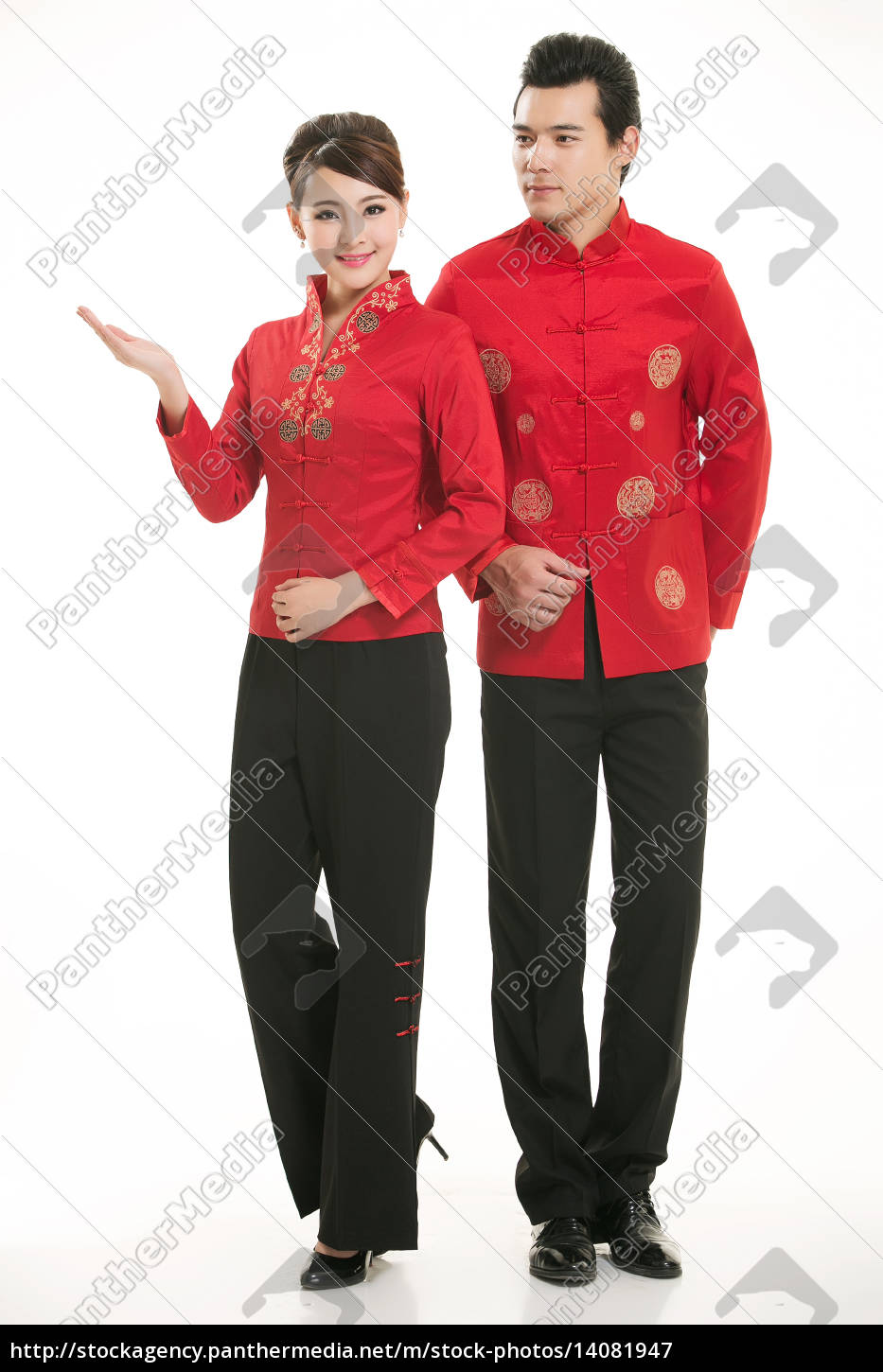 wearing, chinese, clothing, waiter, in, front - 14081947
