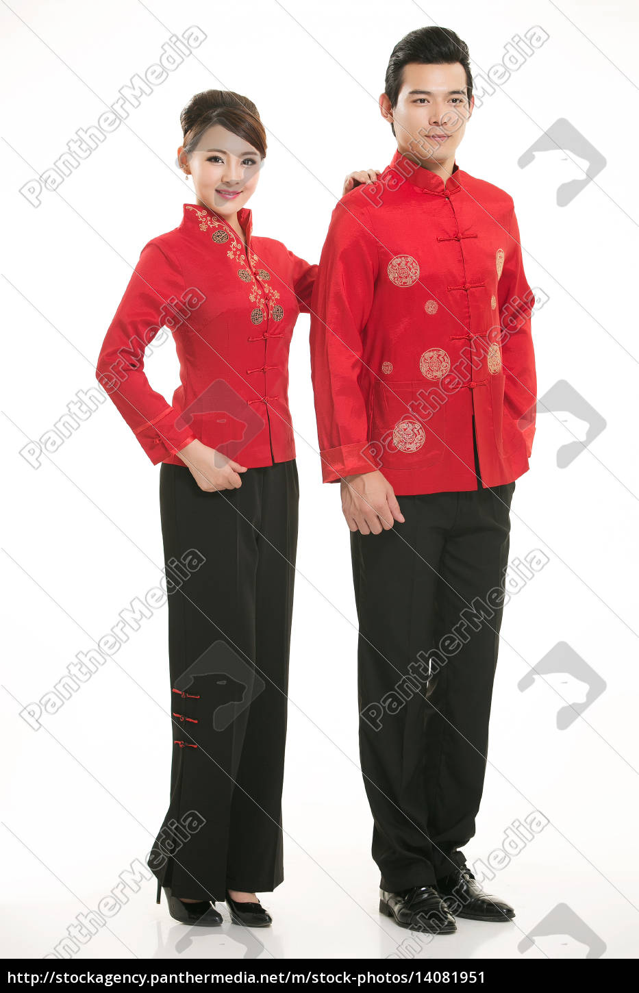 wearing, chinese, clothing, waiter, in, front - 14081951
