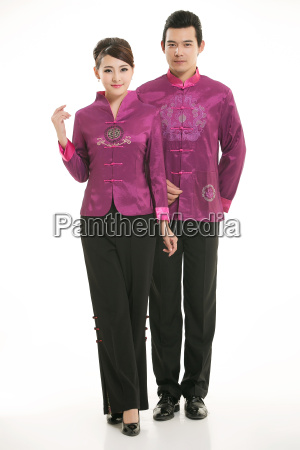 wearing, chinese, clothing, waiter, in, front - 14081965