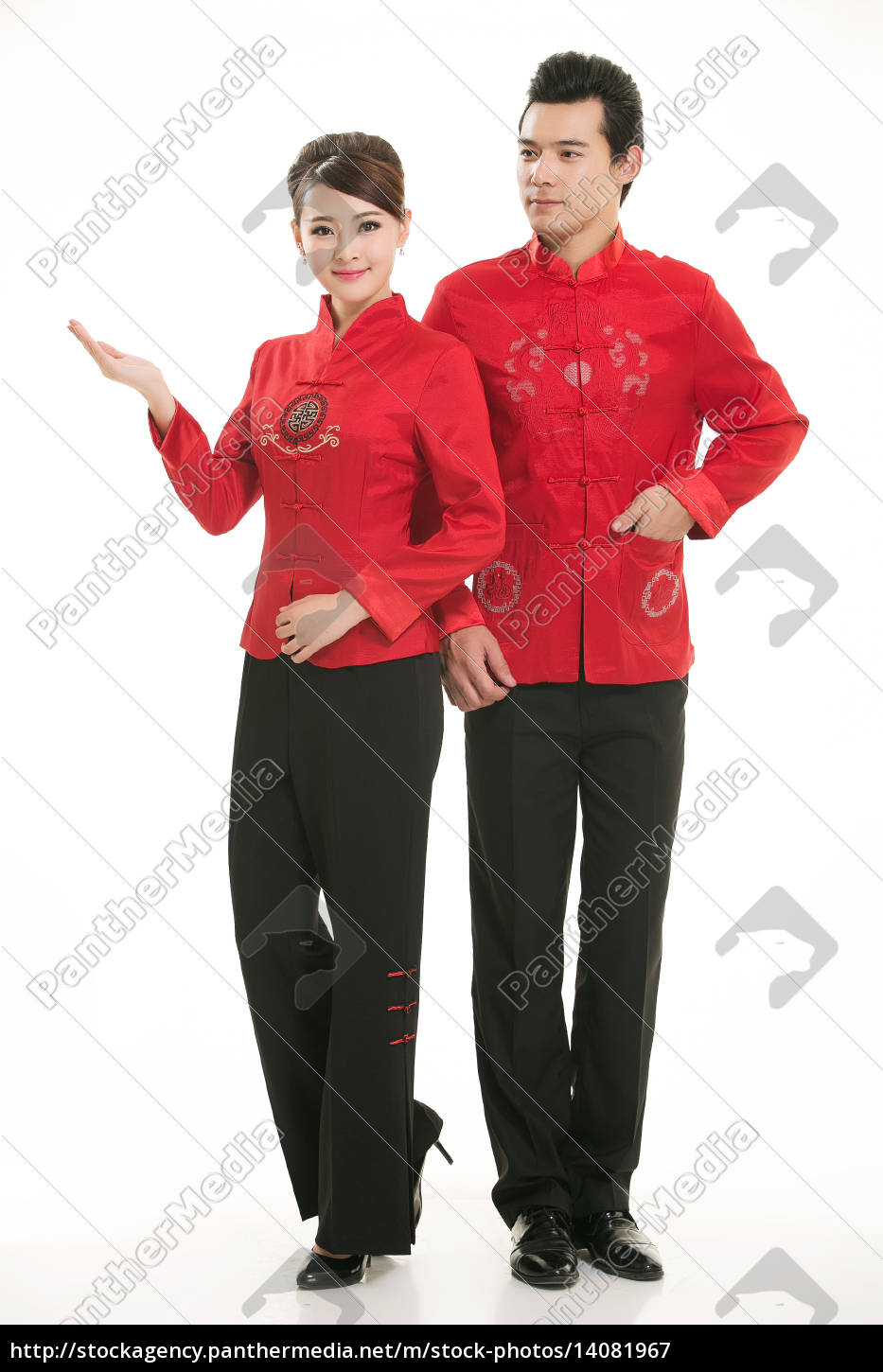 wearing, chinese, clothing, waiter, in, front - 14081967
