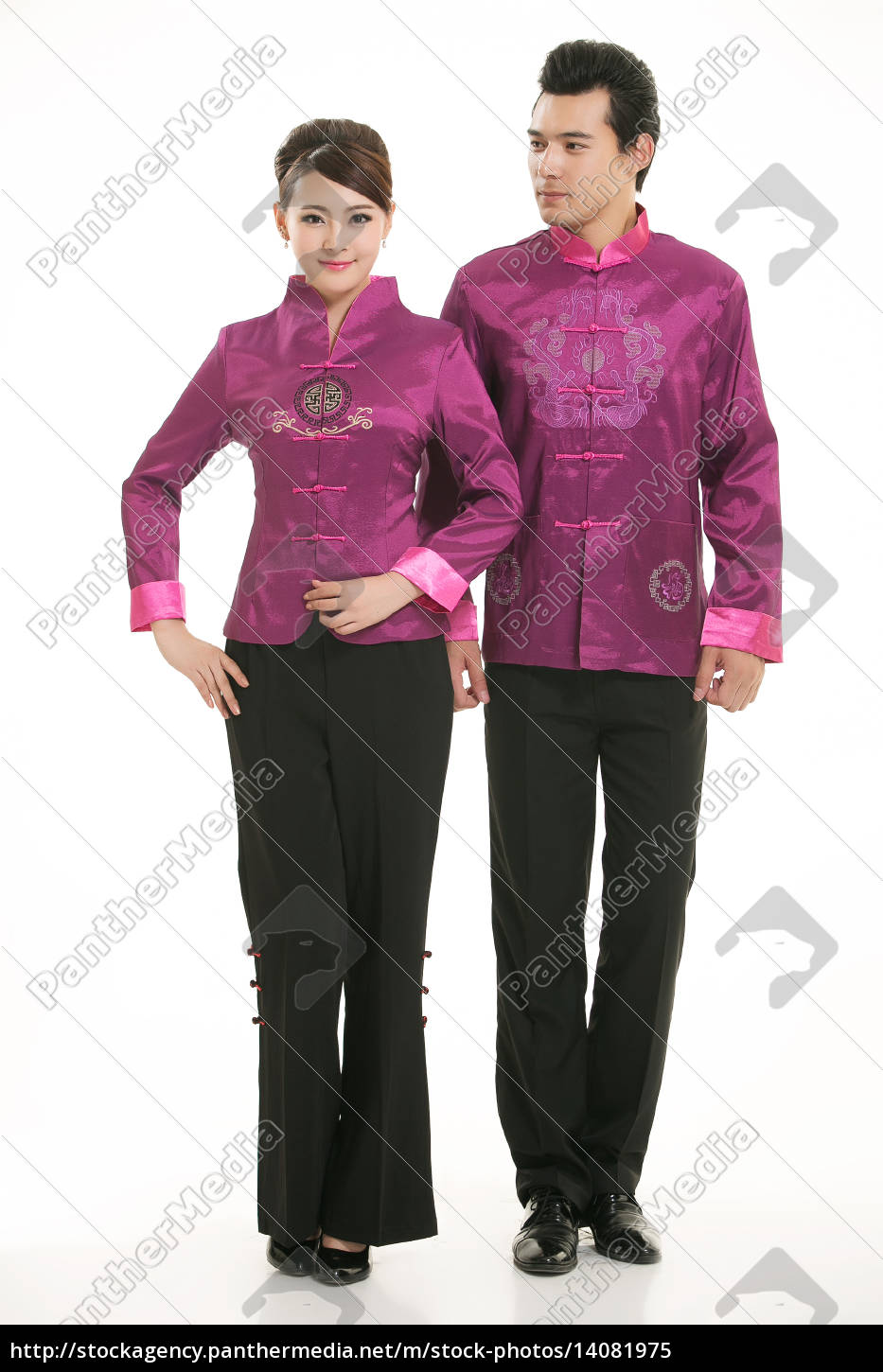 wearing, chinese, clothing, waiter, in, front - 14081975