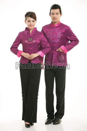 wearing, chinese, clothing, waiter, in, front - 14081987