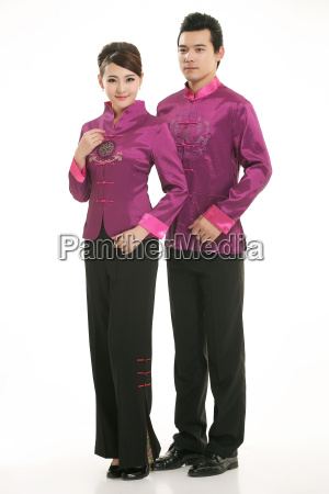 wearing, chinese, clothing, waiter, in, front - 14081991