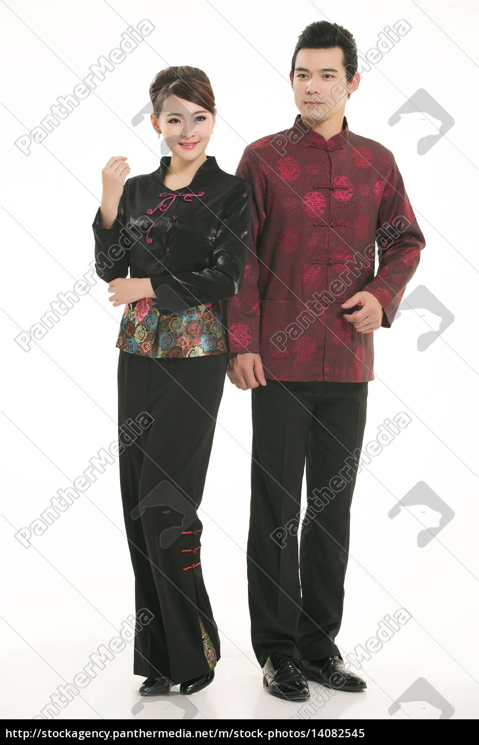 service staff, cotton wadded short gown, cotton wadded undercoat, cottonpadded jacket, greet guests, traditional chinese garments - 14082545