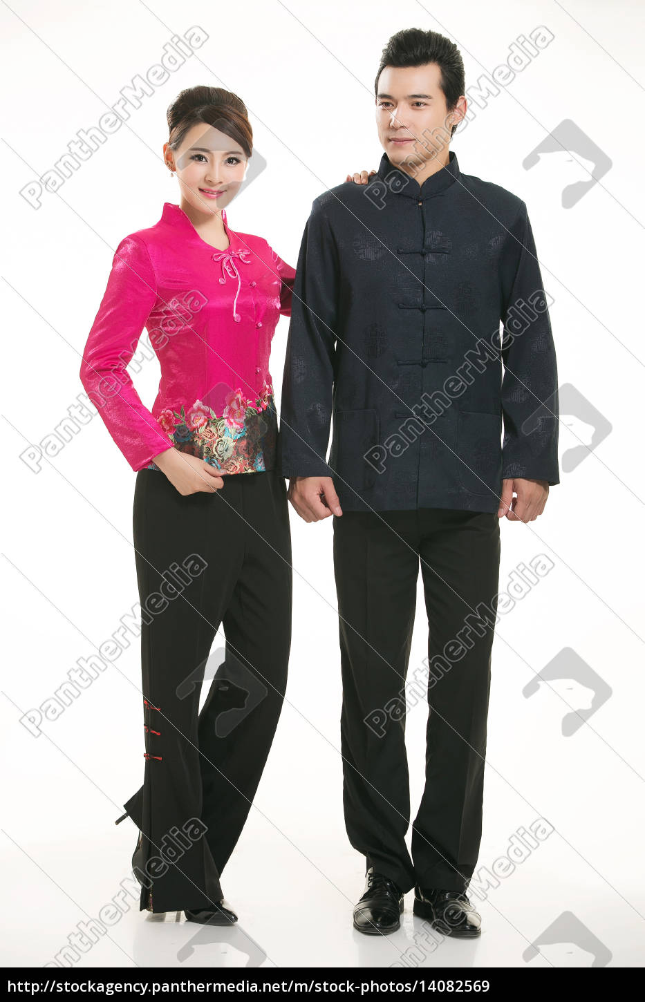 service staff, cotton wadded short gown, cotton wadded undercoat, cottonpadded jacket, greet guests, traditional chinese garments - 14082569