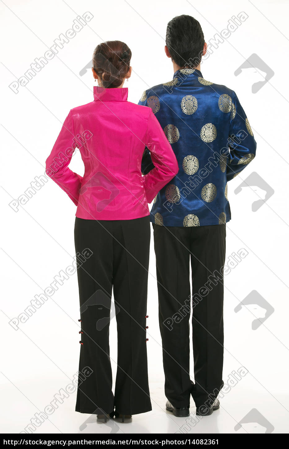 service staff, cotton wadded undercoat, cottonpadded jacket, greet guests, traditional chinese garments - 14082361