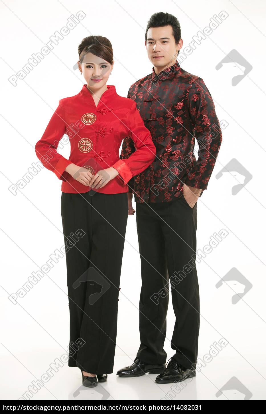 wearing, chinese, clothing, waiter, in, front - 14082031