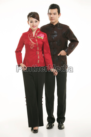 wearing, chinese, clothing, waiter, in, front - 14082033