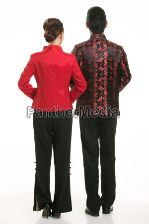 wearing, chinese, clothing, waiter, in, front - 14082035