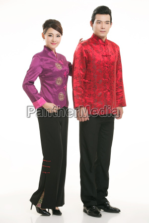 wearing, chinese, clothing, waiter, in, front - 14082057