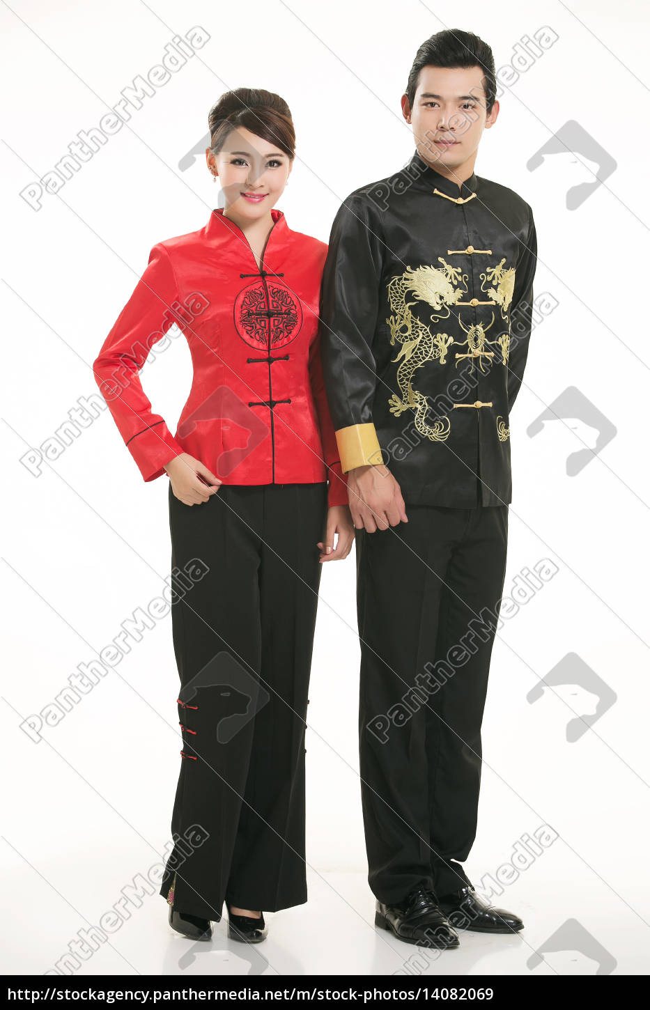 wearing, chinese, clothing, waiter, in, front - 14082069