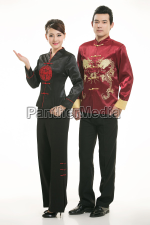 wearing, chinese, clothing, waiter, in, front - 14082079