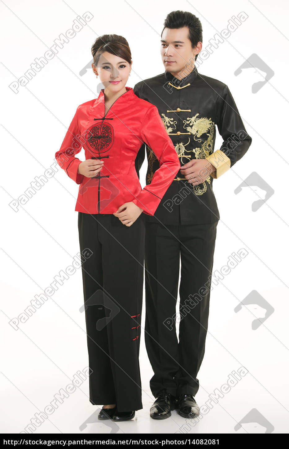 wearing, chinese, clothing, waiter, in, front - 14082081