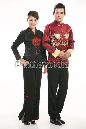 wearing, chinese, clothing, waiter, in, front - 14082087