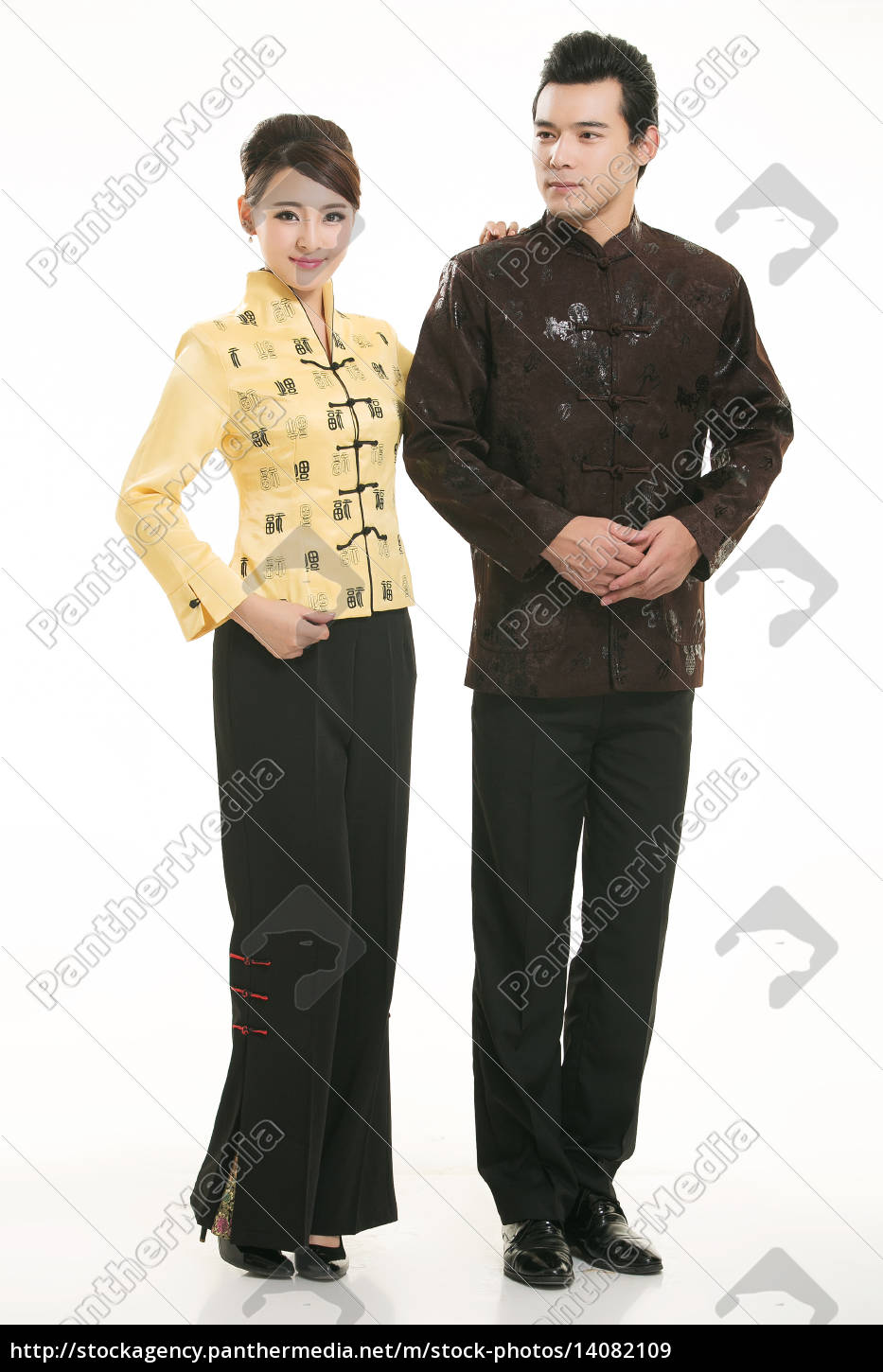 wearing, chinese, clothing, waiter, in, front - 14082109