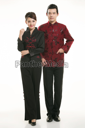 wearing, chinese, clothing, waiter, in, front - 14082123