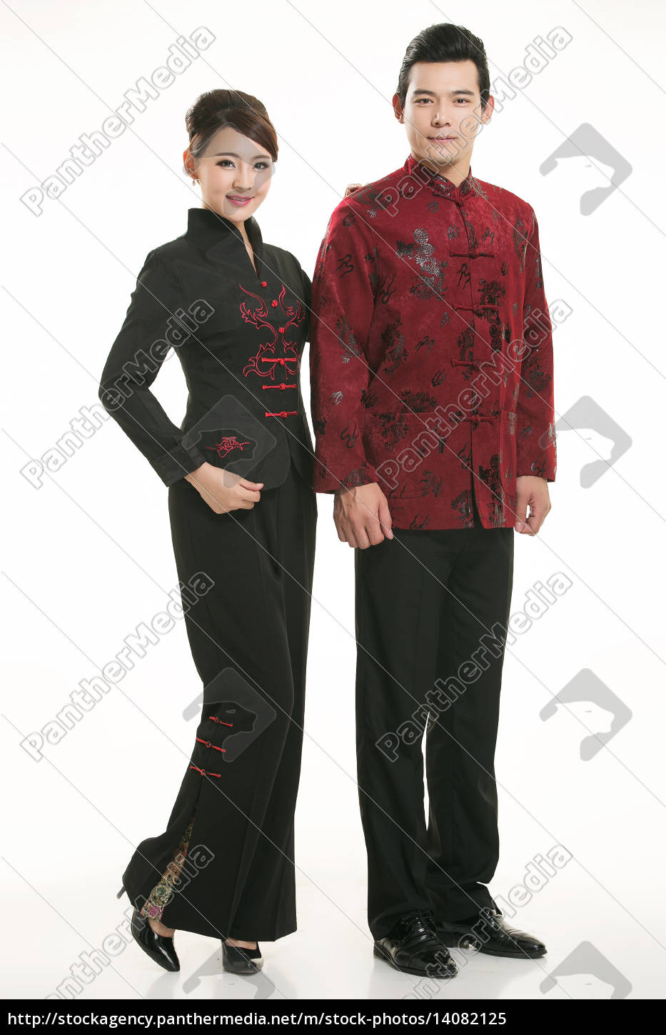 wearing, chinese, clothing, waiter, in, front - 14082125