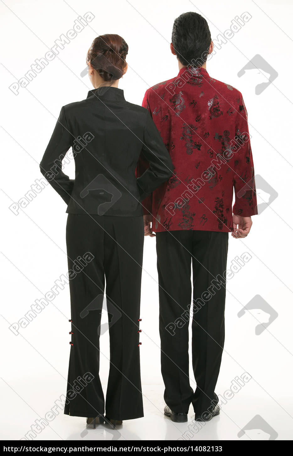 wearing, chinese, clothing, waiter, in, front - 14082133