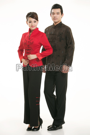 wearing, chinese, clothing, waiter, in, front - 14082147