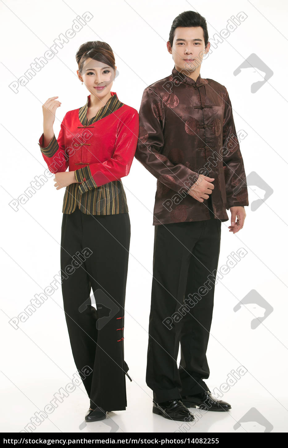wearing, chinese, clothing, waiter, in, front - 14082255