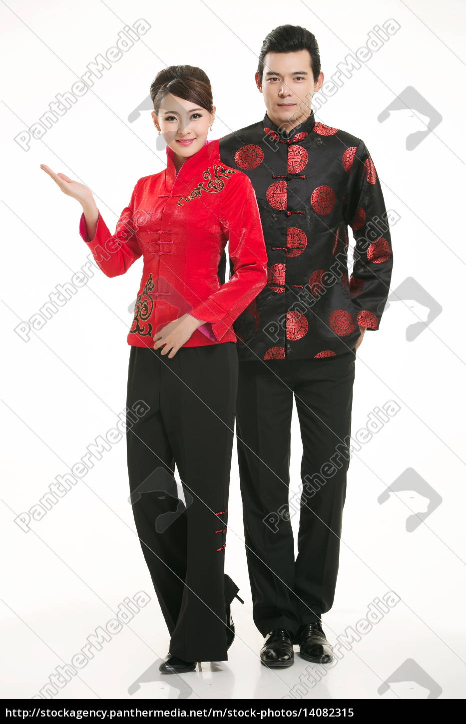 wearing, chinese, clothing, waiter, in, front - 14082315