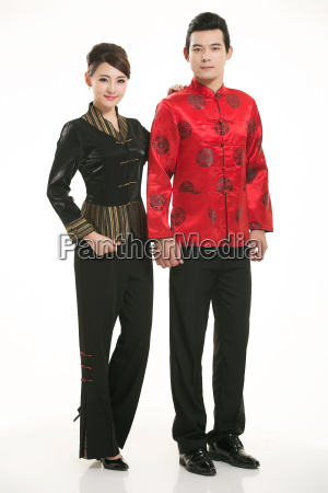 wearing, chinese, clothing, waiter, in, front - 14082327