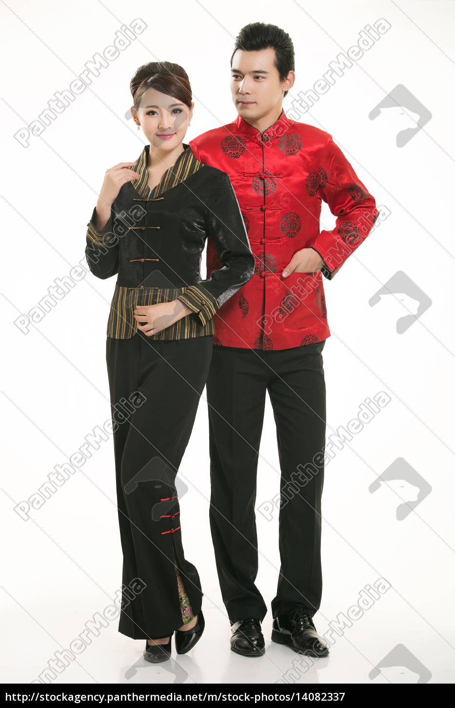 wearing, chinese, clothing, waiter, in, front - 14082337