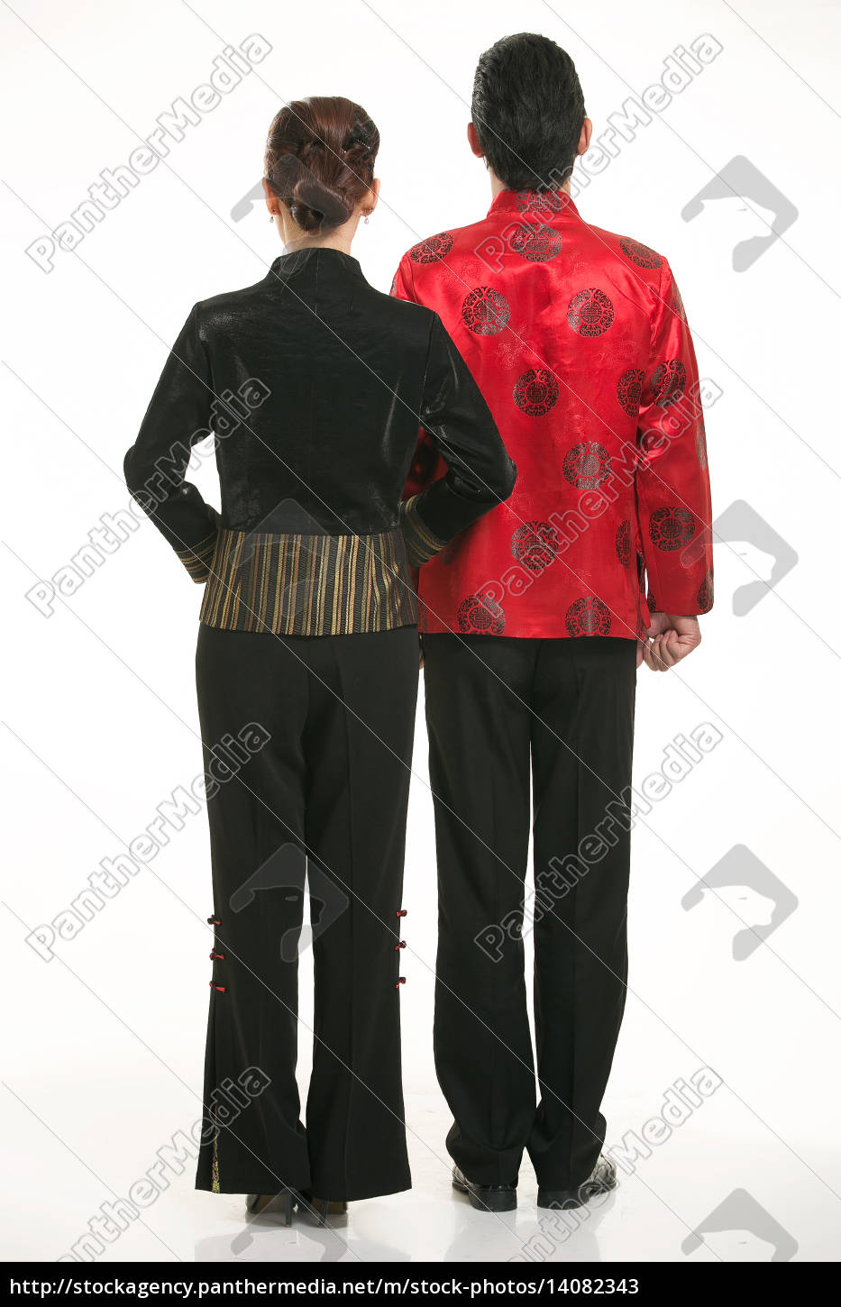 wearing, chinese, clothing, waiter, in, front - 14082343