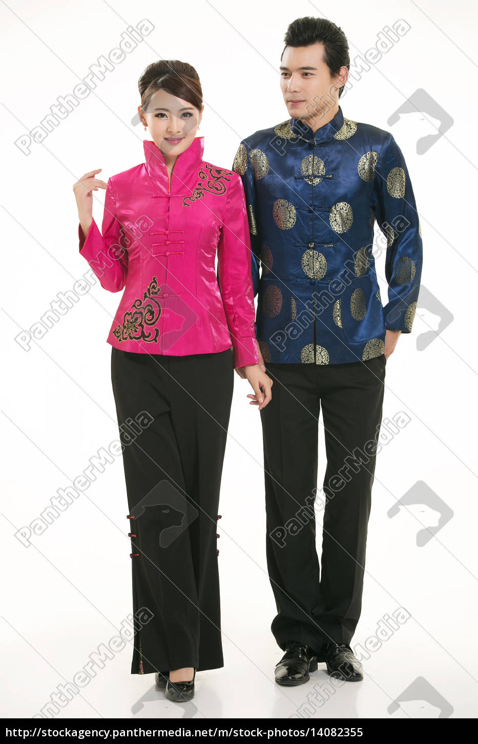 wearing, chinese, clothing, waiter, in, front - 14082355