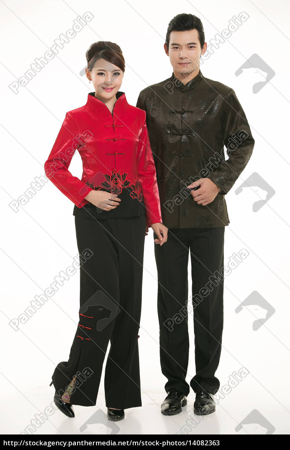 wearing, chinese, clothing, waiter, in, front - 14082363