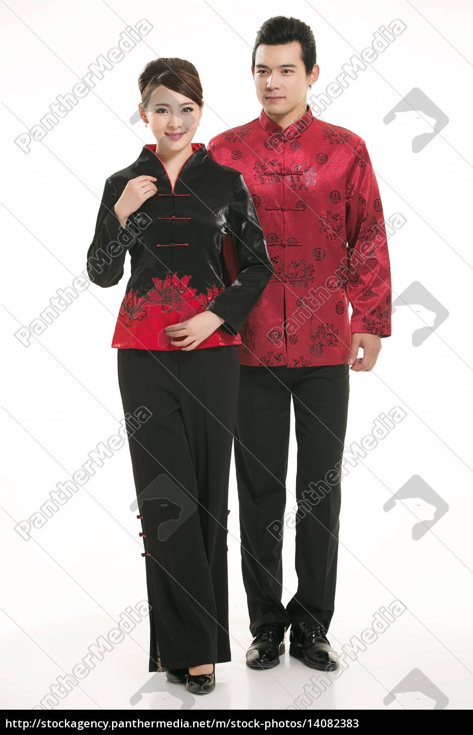 wearing, chinese, clothing, waiter, in, front - 14082383