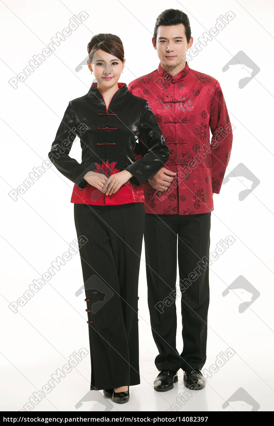 wearing, chinese, clothing, waiter, in, front - 14082397