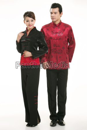 wearing, chinese, clothing, waiter, in, front - 14082407