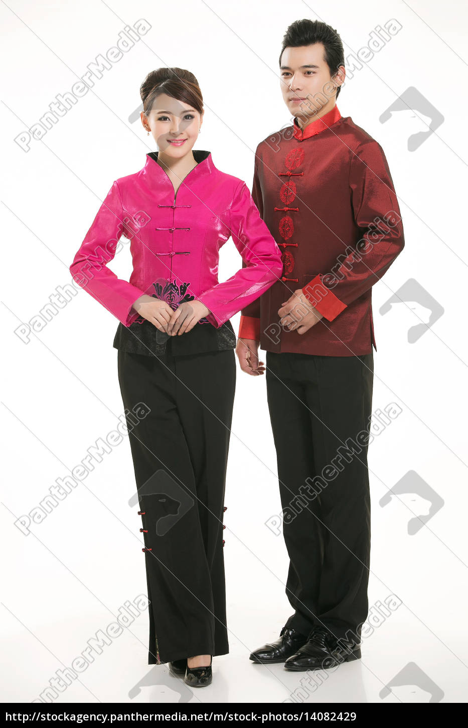 wearing, chinese, clothing, waiter, in, front - 14082429