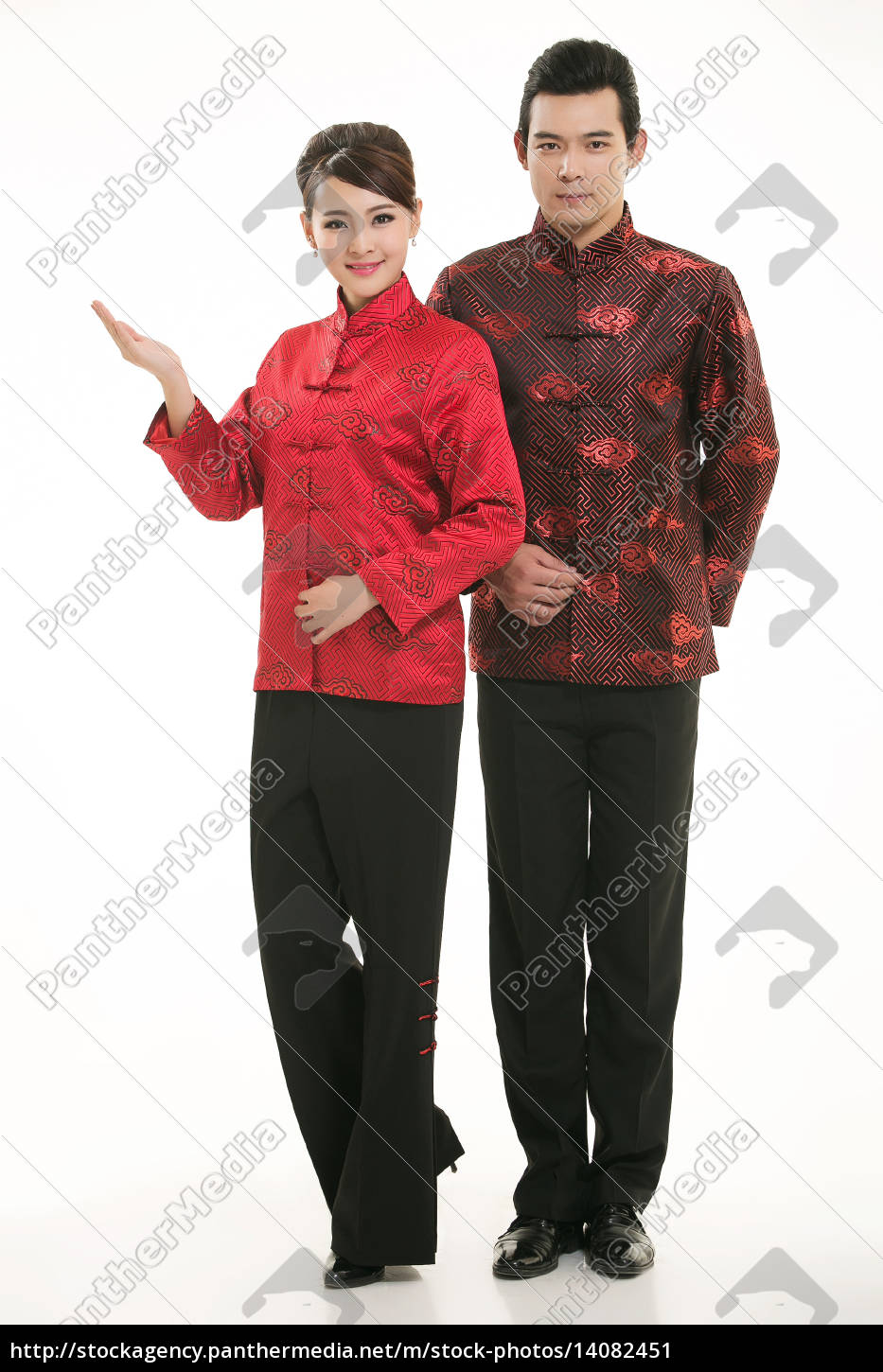wearing, chinese, clothing, waiter, in, front - 14082451