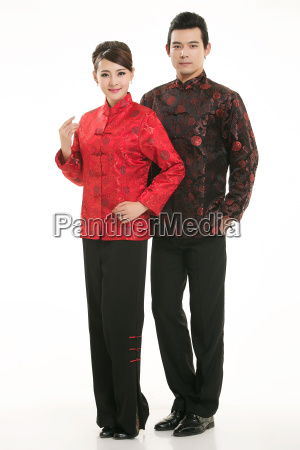 wearing, chinese, clothing, waiter, in, front - 14082499