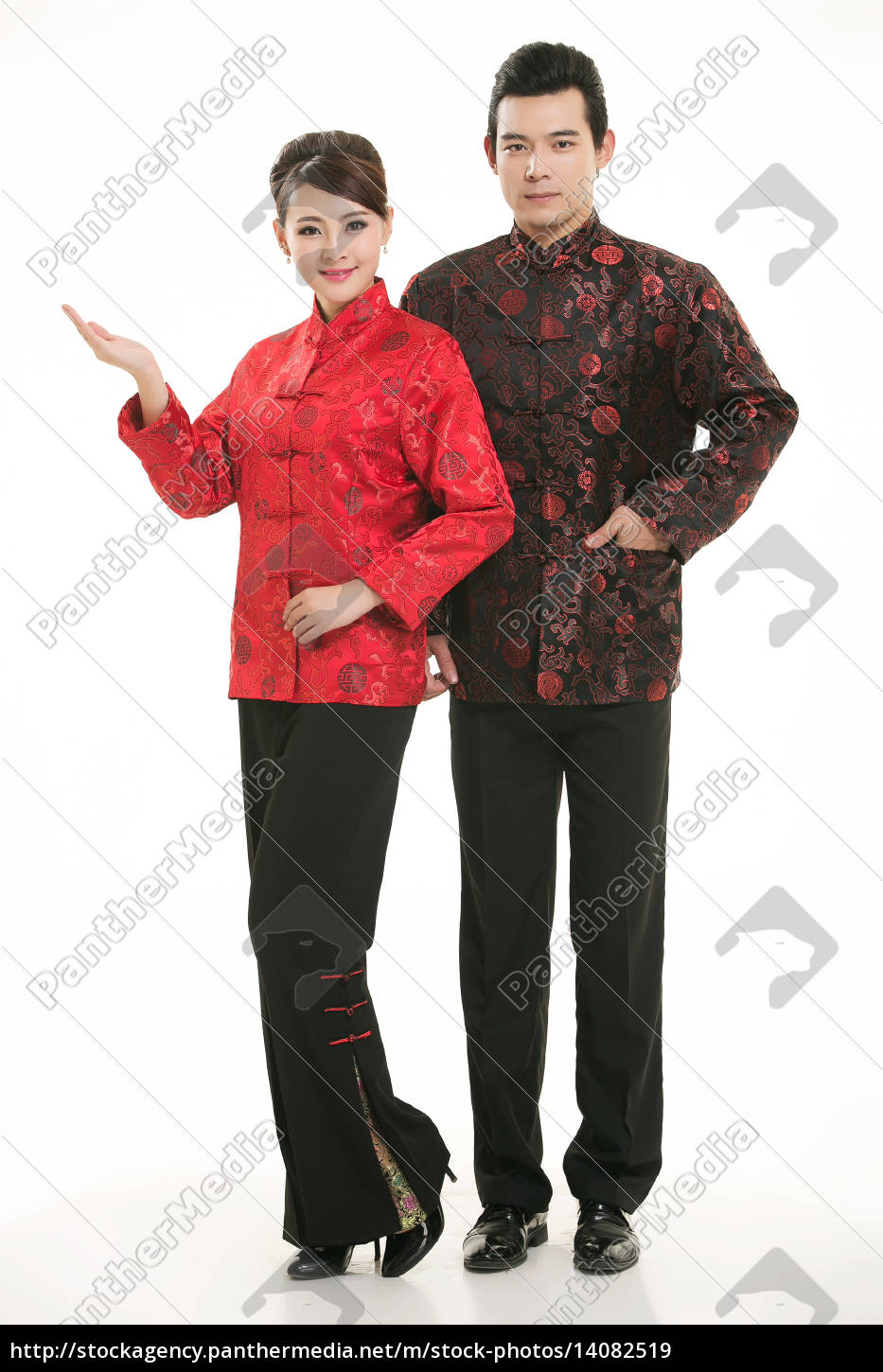 wearing, chinese, clothing, waiter, in, front - 14082519