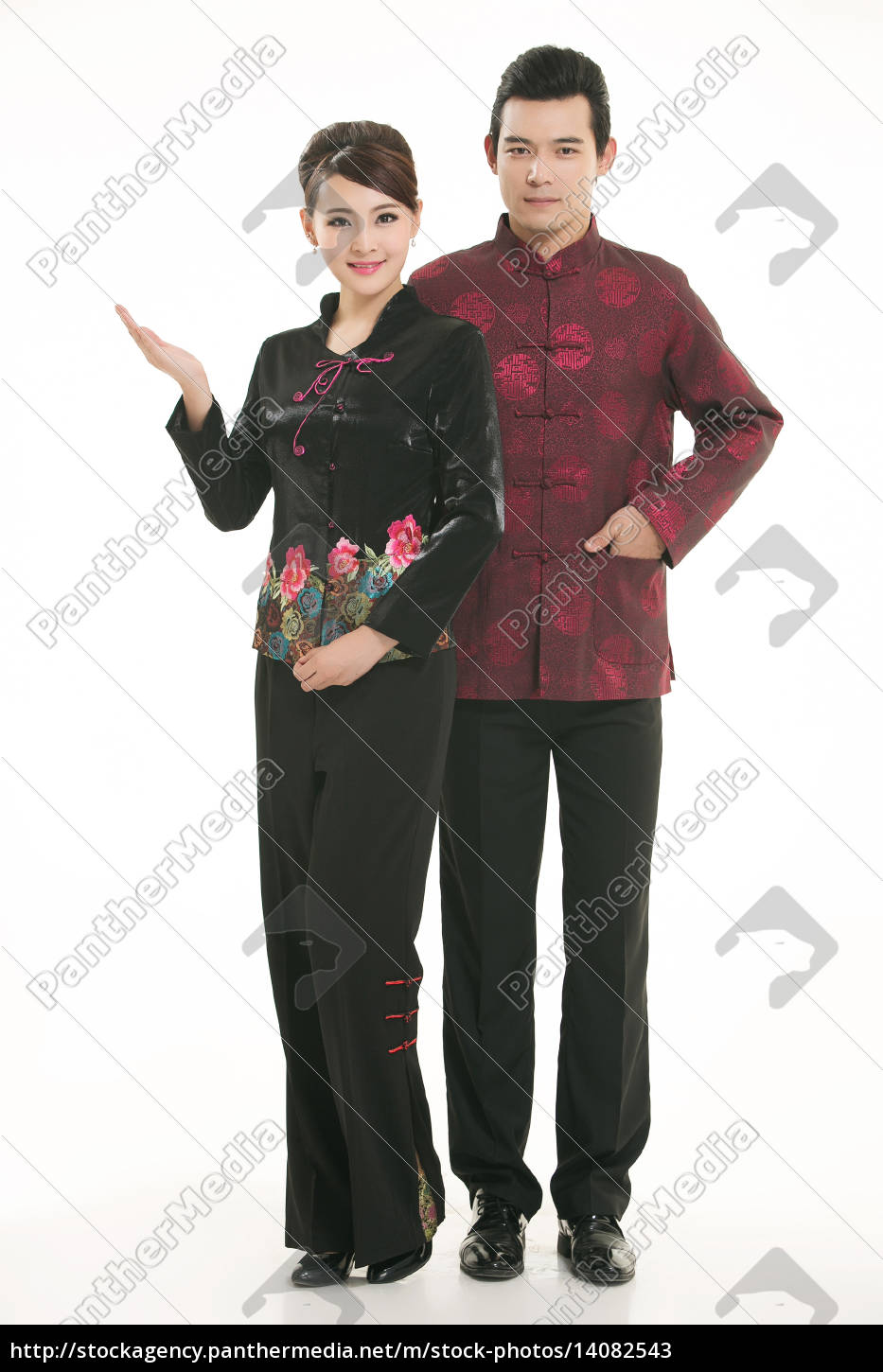 wearing, chinese, clothing, waiter, in, front - 14082543