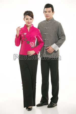 wearing, chinese, clothing, waiter, in, front - 14082581