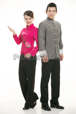 wearing, chinese, clothing, waiter, in, front - 14082587