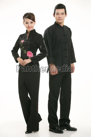 wearing, chinese, clothing, waiter, in, front - 14082589