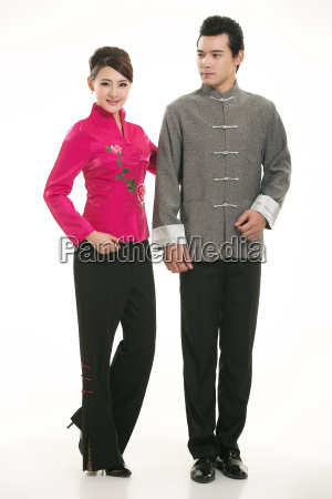 wearing, chinese, clothing, waiter, in, front - 14082601